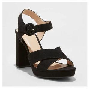 Black Crossband Platform Ankle Strap Heels-8/9.5